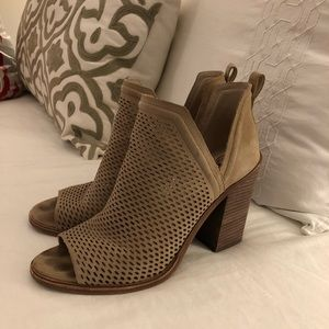 Vince Camuto Suede Open Toe Booties - Tan